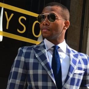 Men's Style Pro Blue Plaid Suit - thumbnail image 2