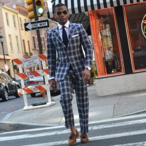 Men's Style Pro Blue Plaid Suit - thumbnail image 3