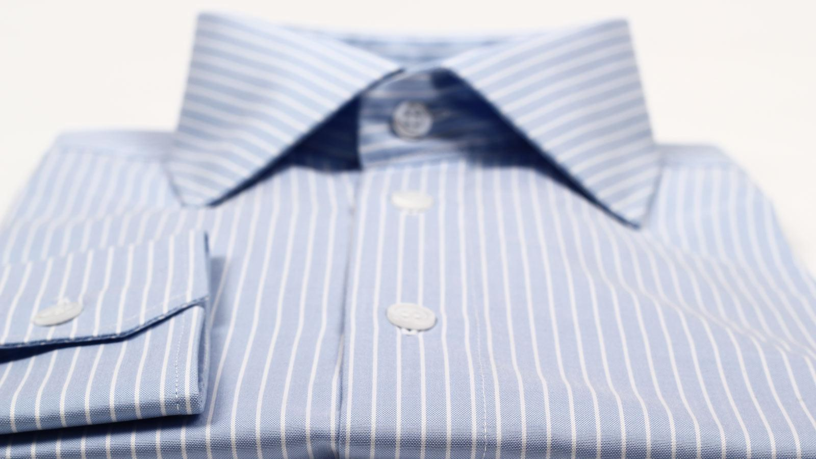 White Striped Blue Two-Fold Cotton Shirt - slider image 1