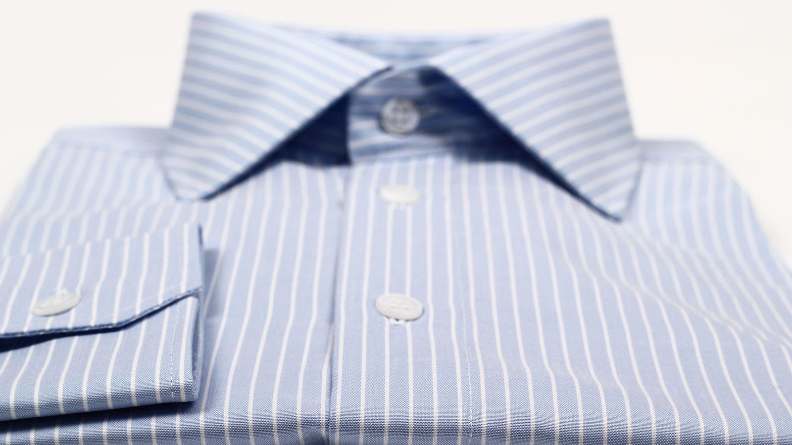 White Striped Blue Two-Fold Cotton Shirt - slider image 1