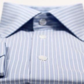 White Striped Blue Two-Fold Cotton Shirt - thumbnail image 1