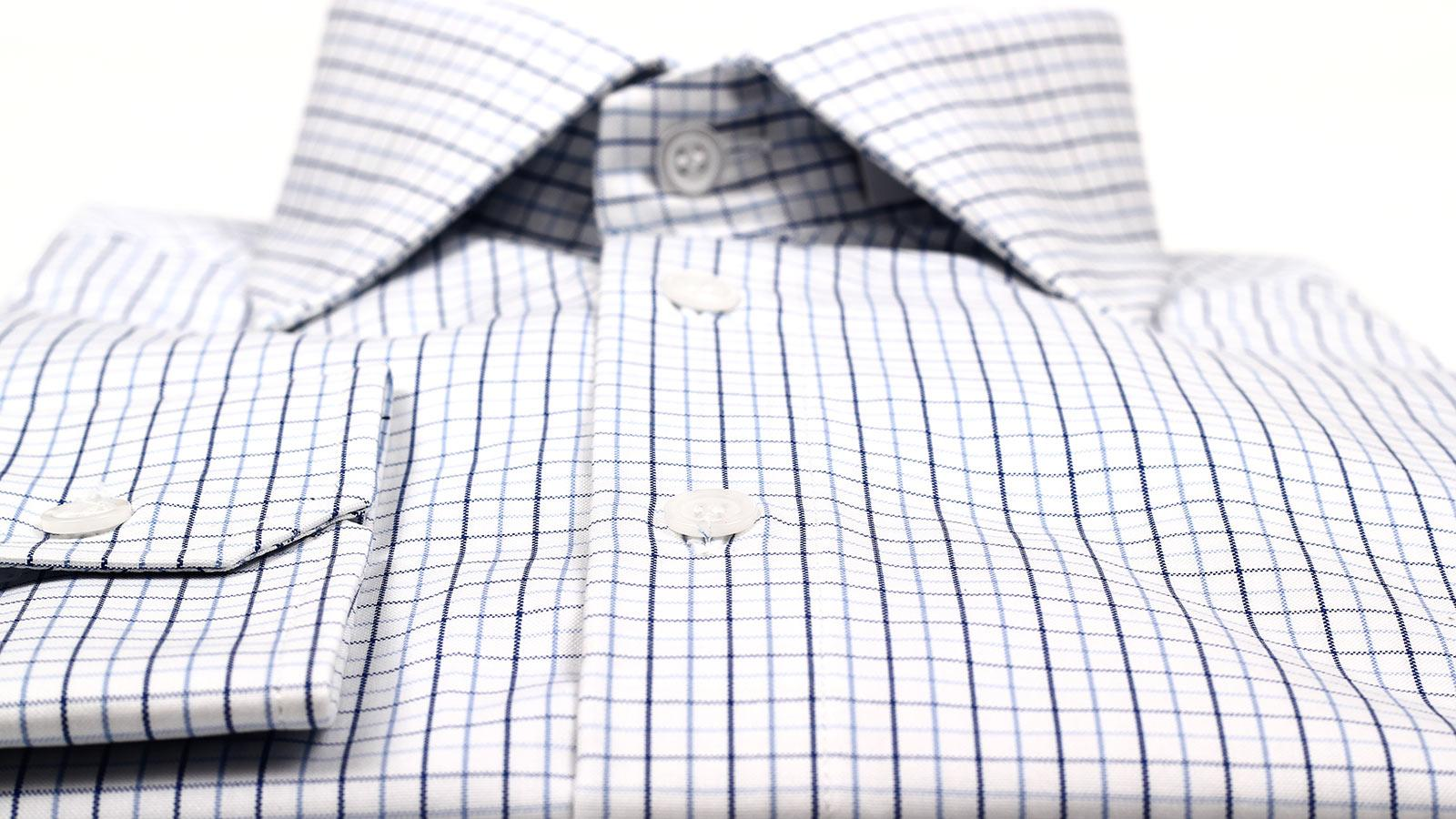 Blue Checked White Cotton Shirt - slider image 1