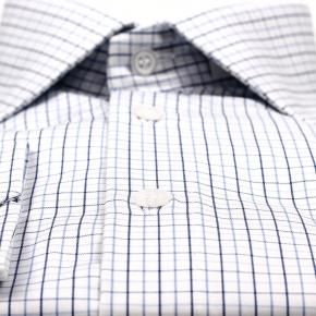 Blue Checked White Cotton Shirt - thumbnail image 1