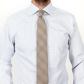 Blue Checked White Cotton Shirt - thumbnail image 3