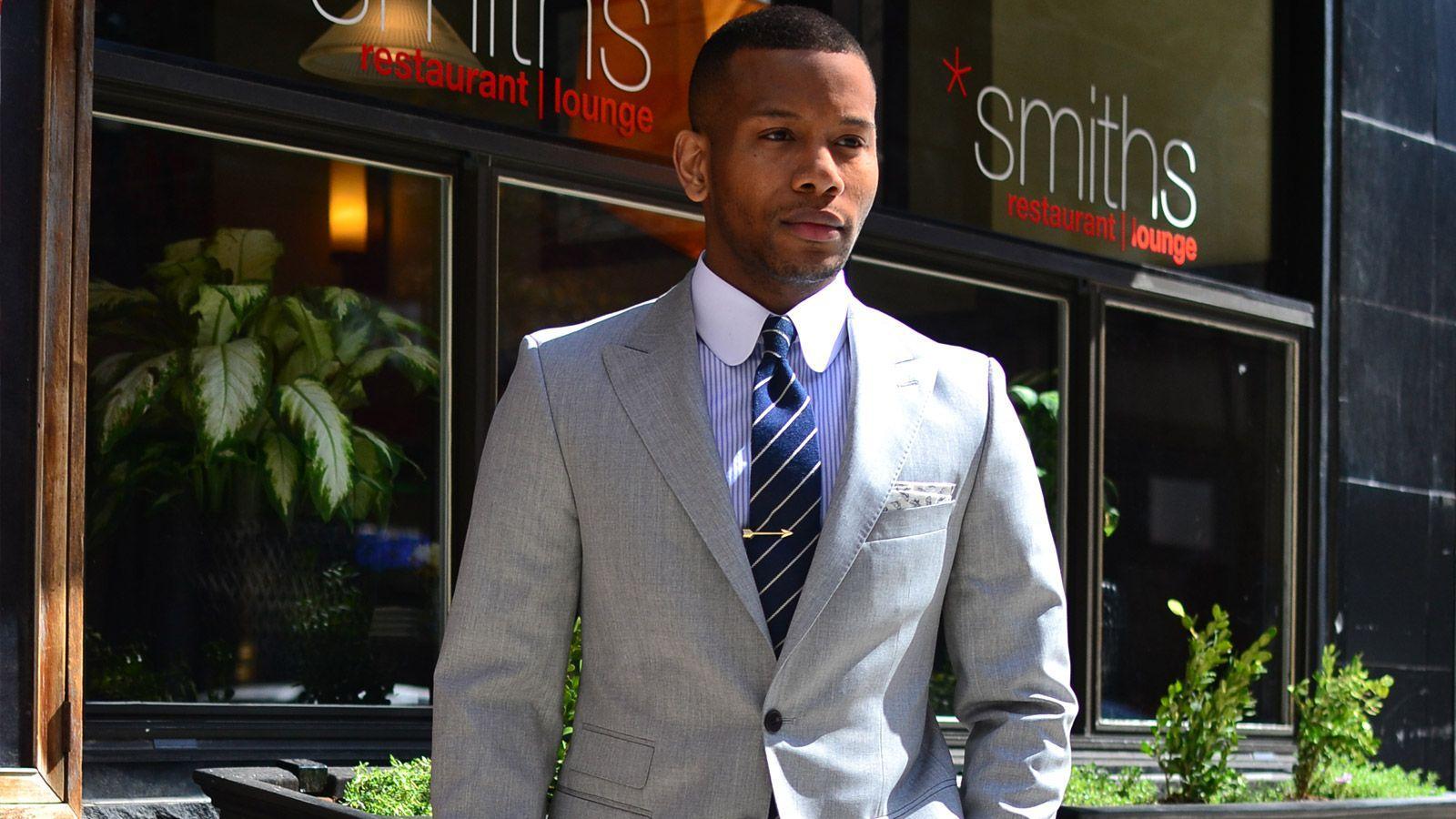 Men's Style Pro Light Grey Suit - slider image 1