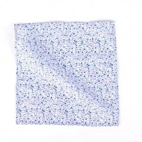 Blue Floral Patterned Cotton Pocket Square - thumbnail image 2