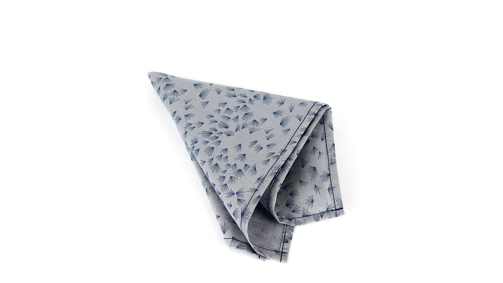Light Blue Pocket Square With A Dandelion Pattern - slider image 1
