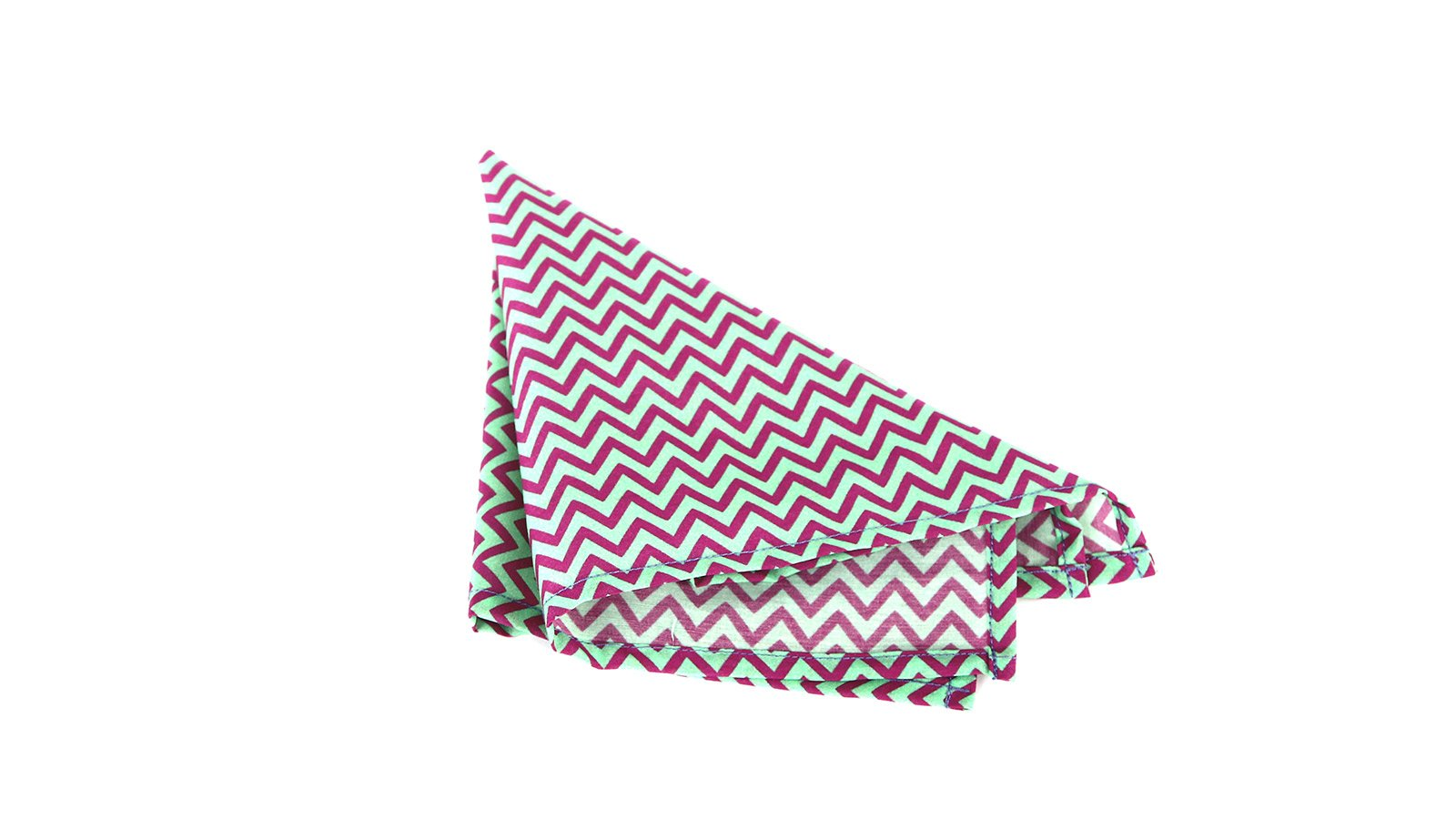 Pink & Green Chevron Patterned Pocket Square - slider image 1