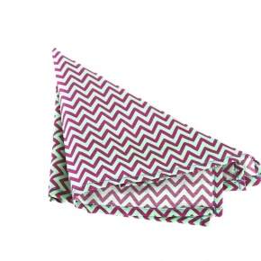 Pink & Green Chevron Patterned Pocket Square - thumbnail image 1