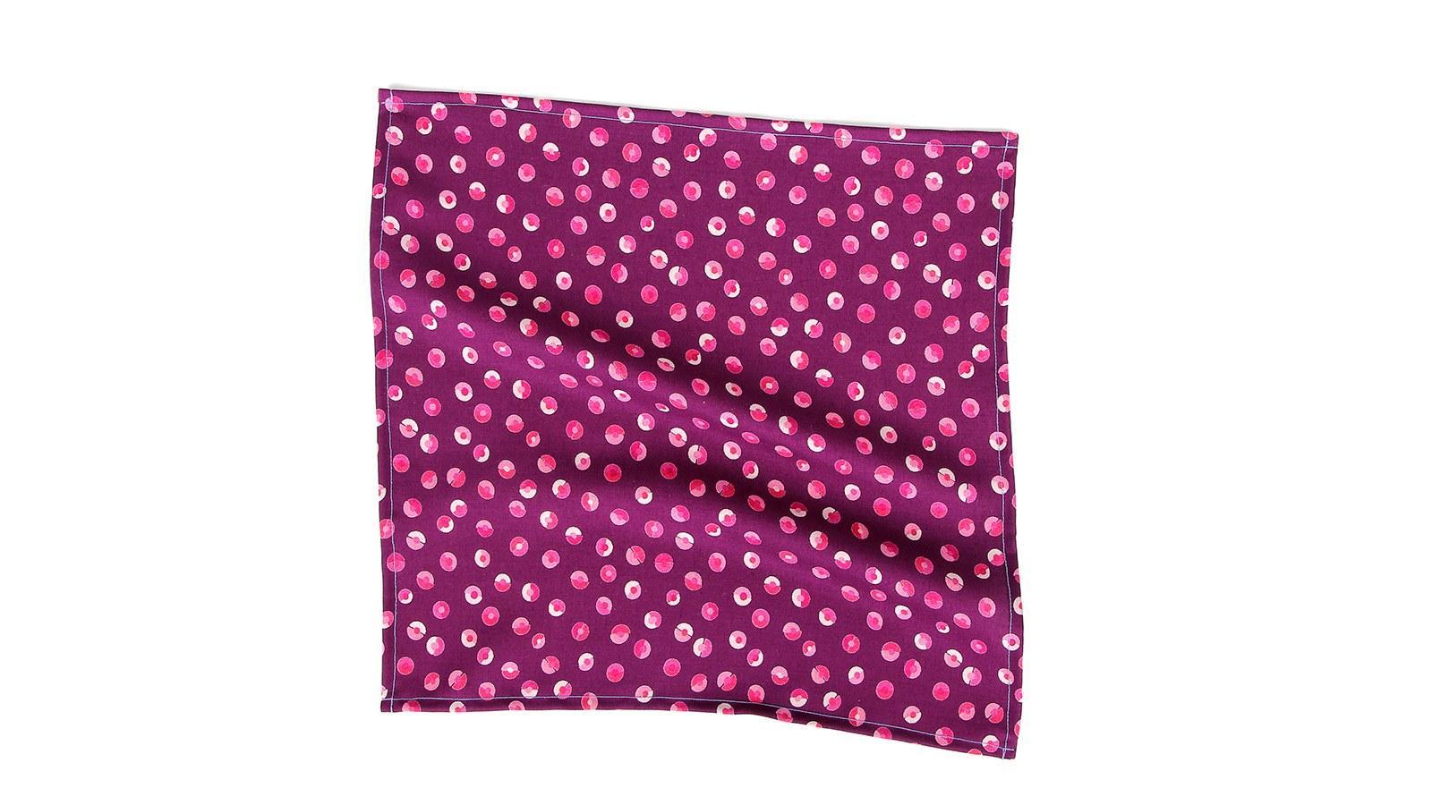 Pink & Purple Patterned Cotton Pocket Square - slider image