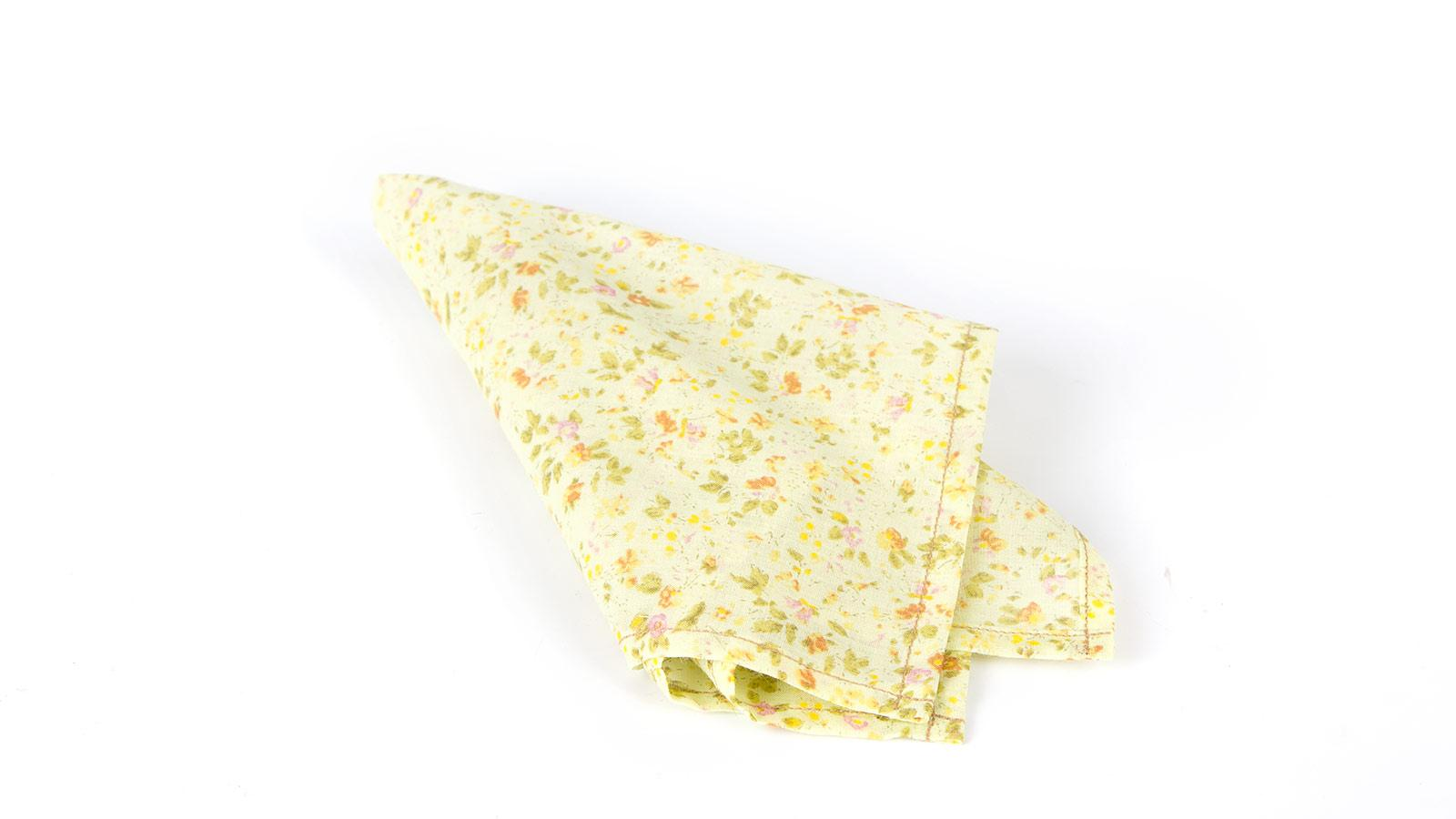 Yellow Floral Patterned Cotton Pocket Square - slider image 1
