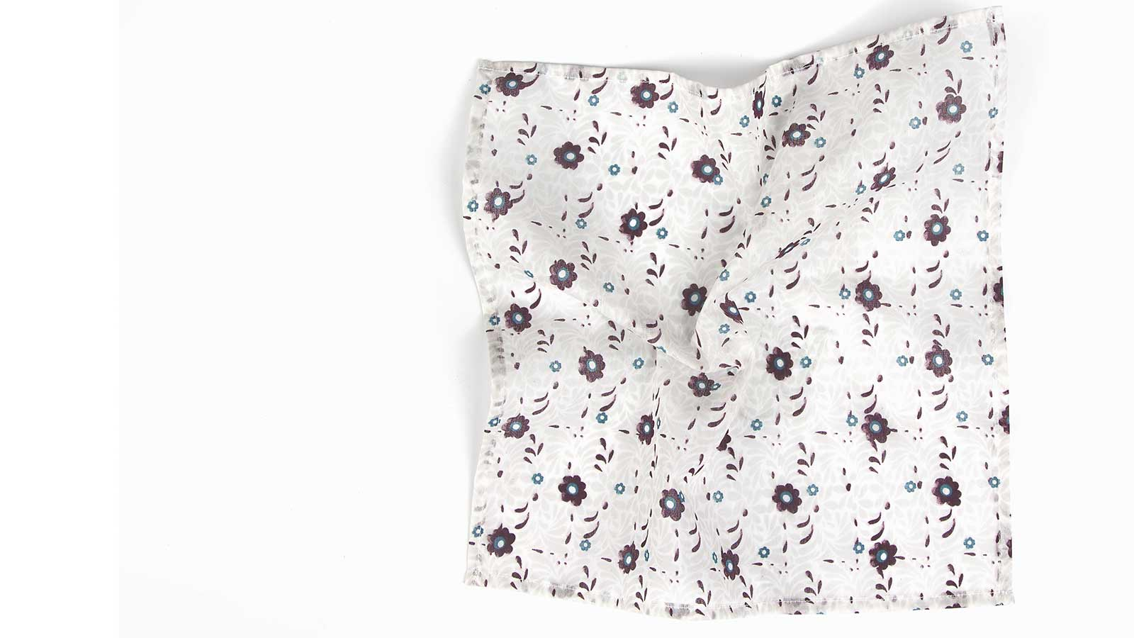 White Cotton Pocket Square With A Floral Pattern - slider image