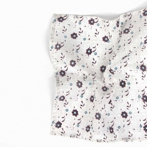 White Cotton Pocket Square With A Floral Pattern - thumbnail image 1