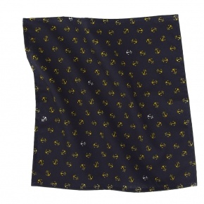 Navy Pocket Square With An Anchor Pattern - thumbnail image 1
