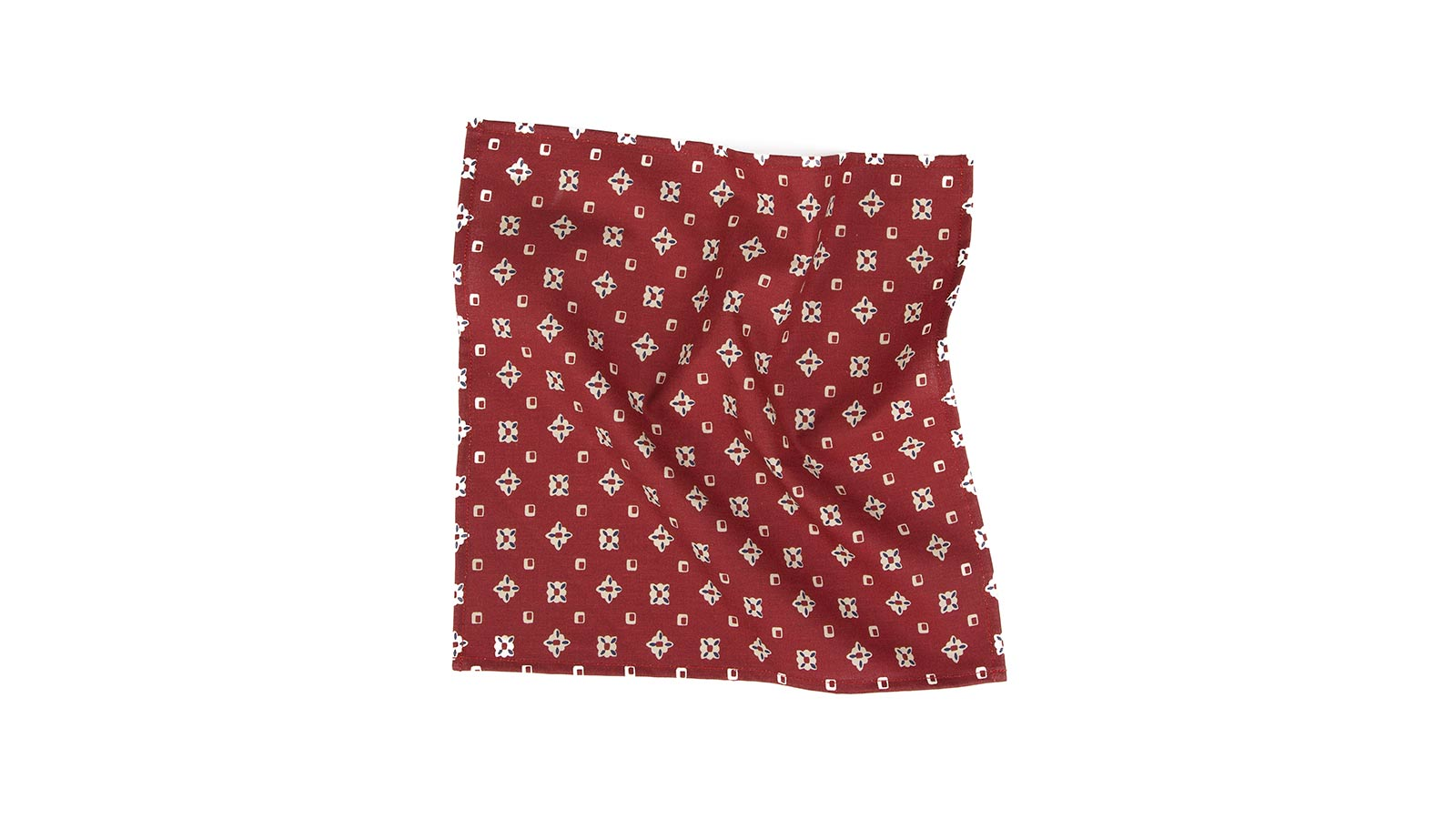 Red Patterned Cotton Pocket Square - slider image