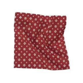 Red Patterned Cotton Pocket Square - thumbnail image 1