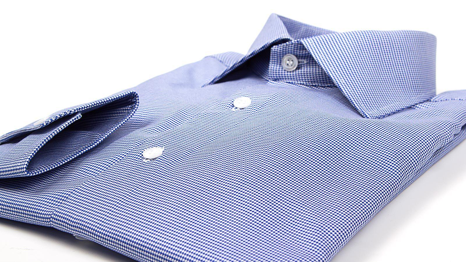 Micropatterned Blue Cotton Shirt - slider image 1