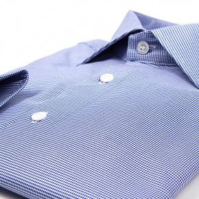 Micropatterned Blue Cotton Shirt - thumbnail image 1