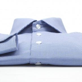 Micropatterned Blue Cotton Shirt - thumbnail image 2