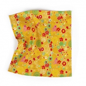 Mustard Pocket Square with Flower Pattern - thumbnail image 1
