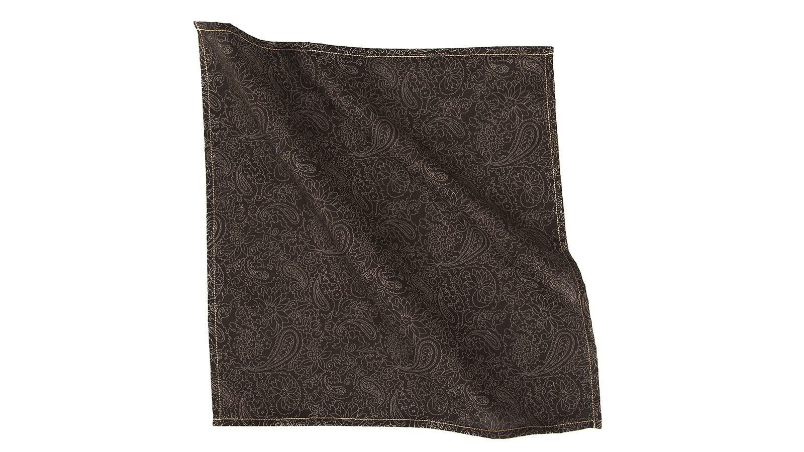 Brown Paisley Cotton Pocket Square - slider image