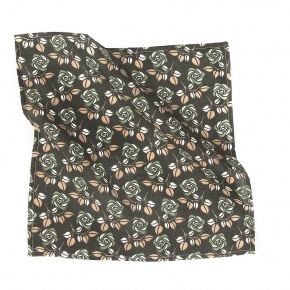 Green Flowers Cotton Pocket Square - thumbnail image 1