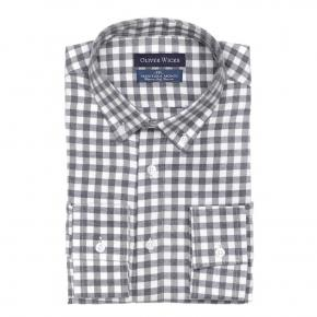 Men's Style Pro Grey Check Shirt - thumbnail image 1