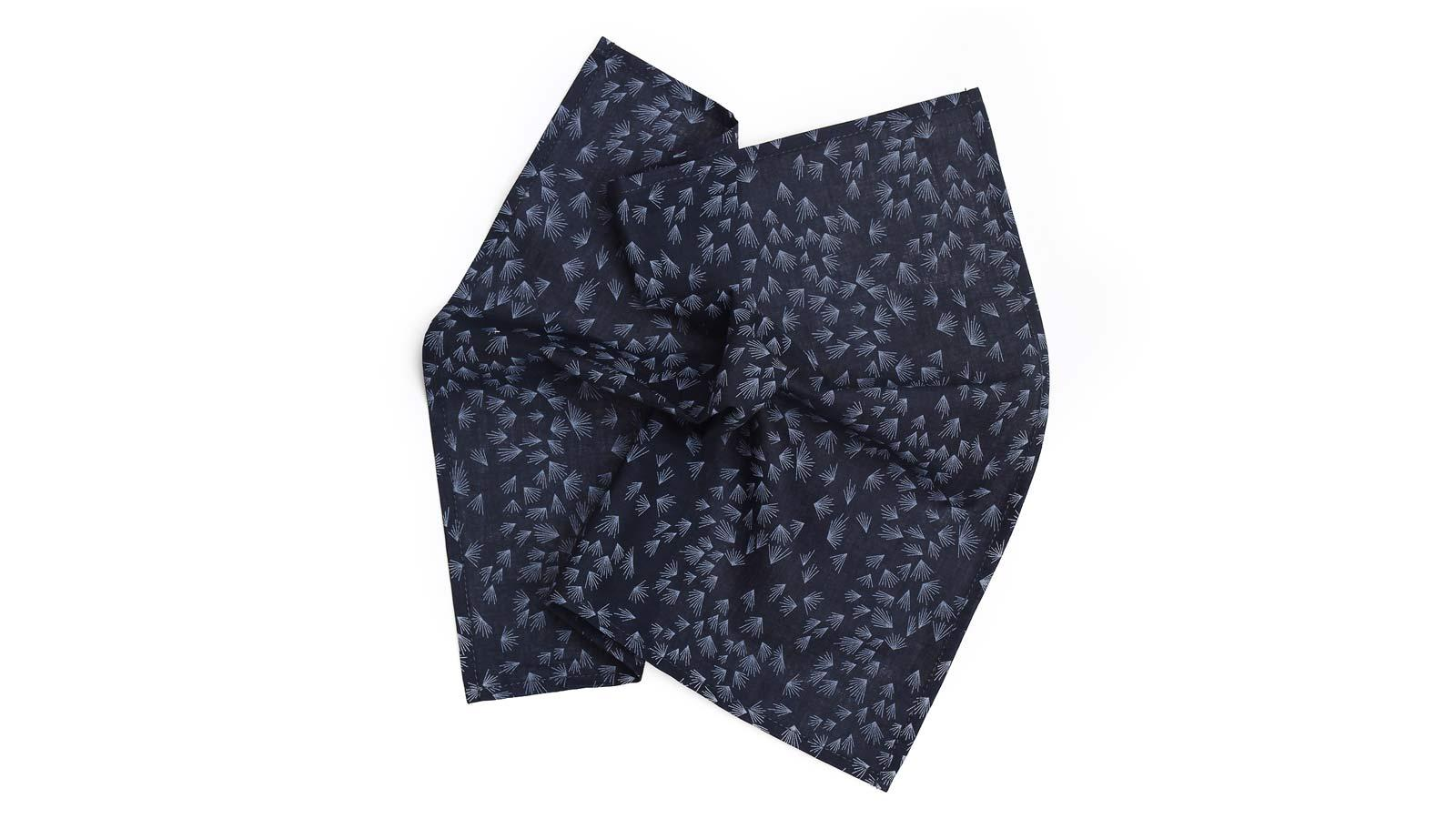 Navy Pocket Square With A Dandelion Pattern - slider image