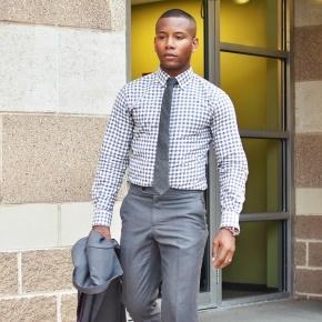 Men's Style Pro Grey Check Shirt - thumbnail image 2