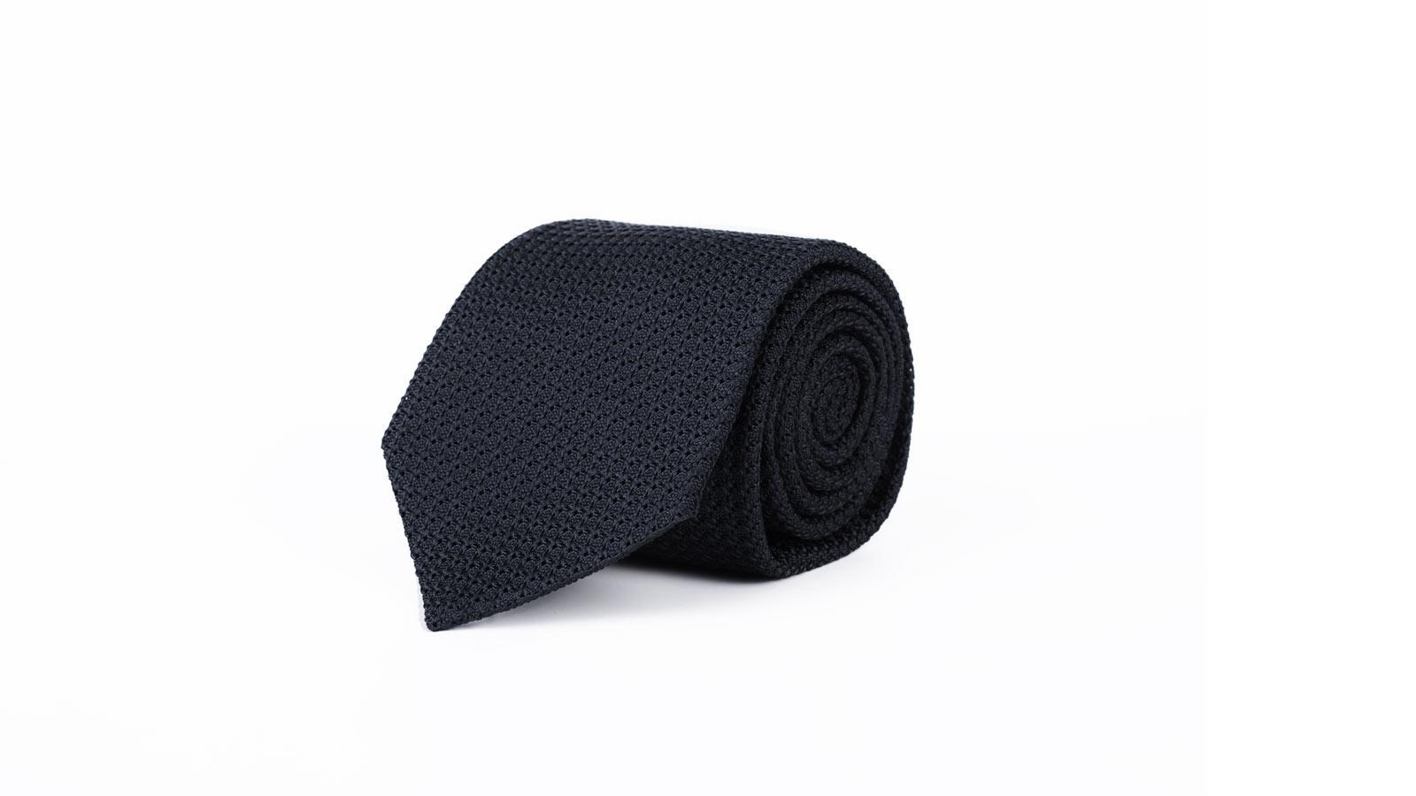 Dark Navy 100% Grenadine Silk Tie - slider image
