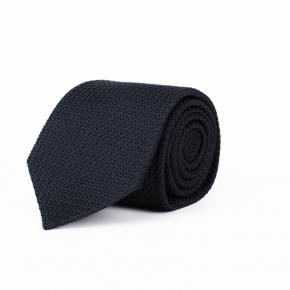 Dark Navy 100% Grenadine Silk Tie - thumbnail image 1