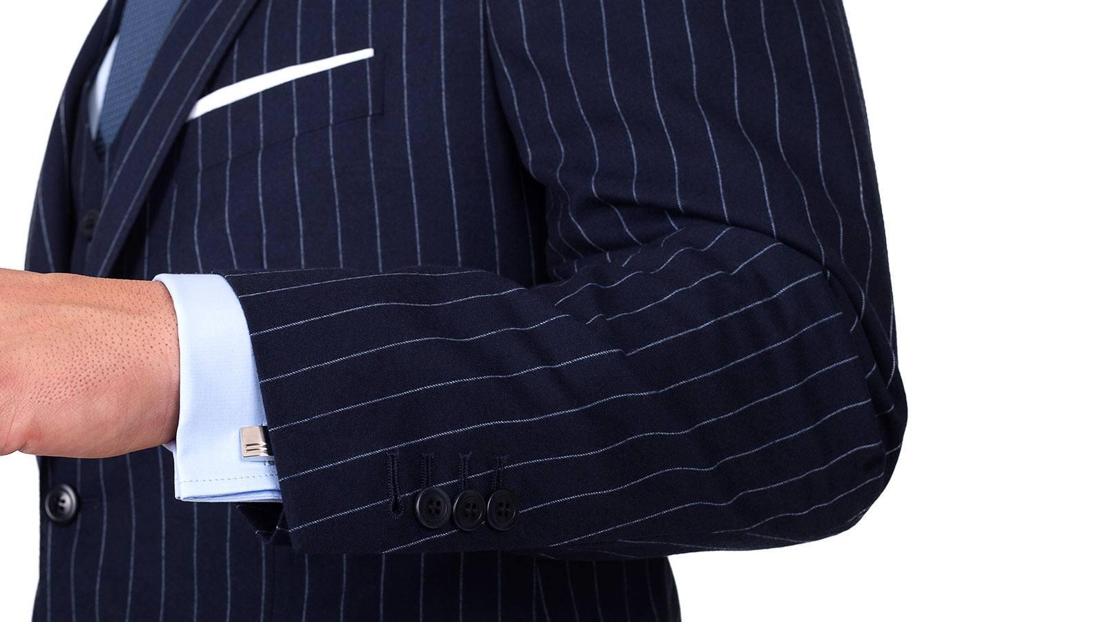 Navy Chalk Stripe 3 Piece Suit - slider image 1