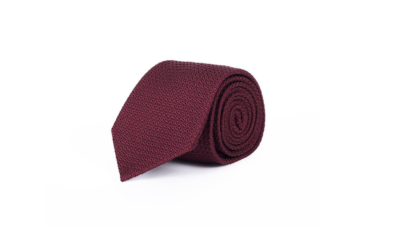 Burgundy 100% Grenadine Silk Tie - slider image