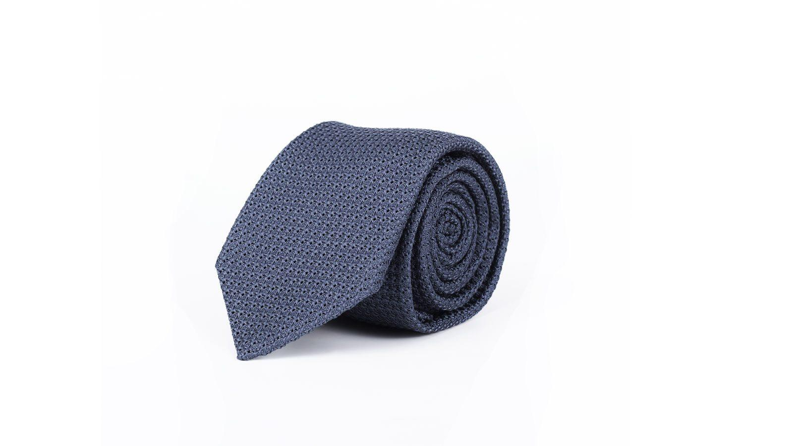 Airforce Blue Italian 100% Grenadine Silk Tie - slider image