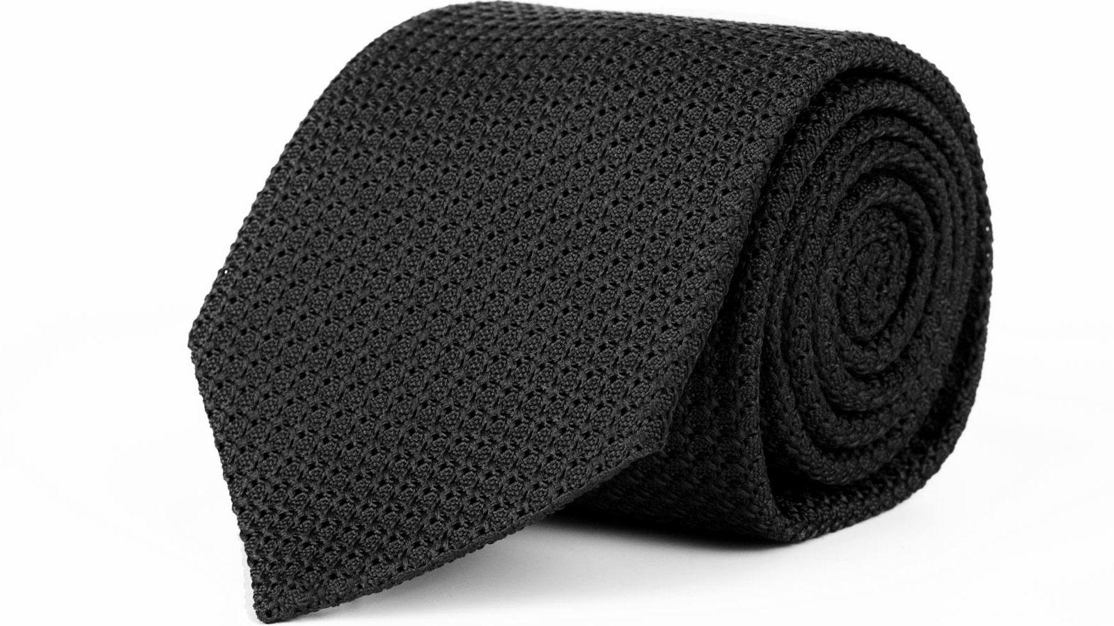 Black 100% Grenadine Silk Tie - slider image
