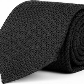 Black 100% Grenadine Silk Tie - thumbnail image 1