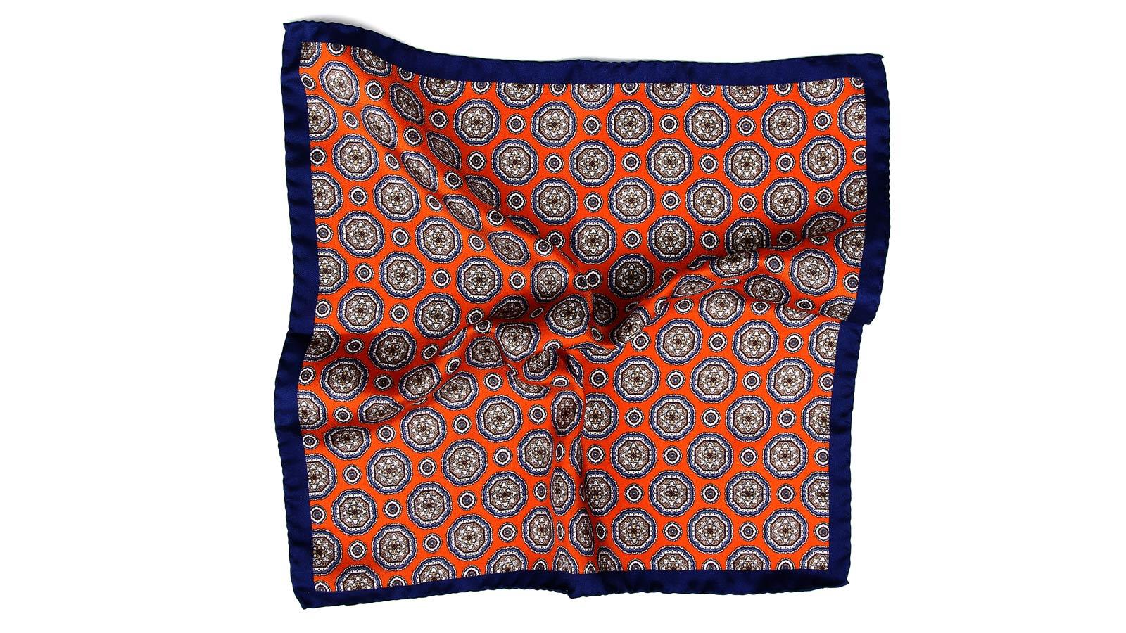 Navy & Copper Shapes Italian 100% Silk Pocket Square - slider image