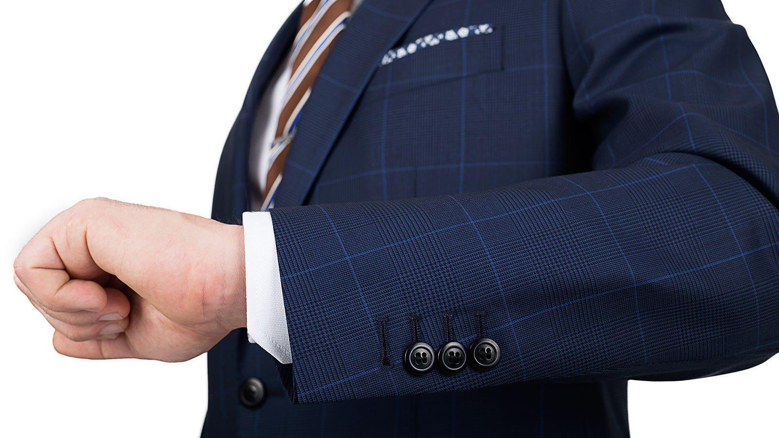 Premium Navy & Blue Plaid Suit - slider image 1
