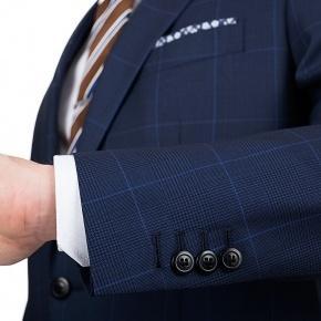Premium Navy & Blue Plaid Suit - thumbnail image 1