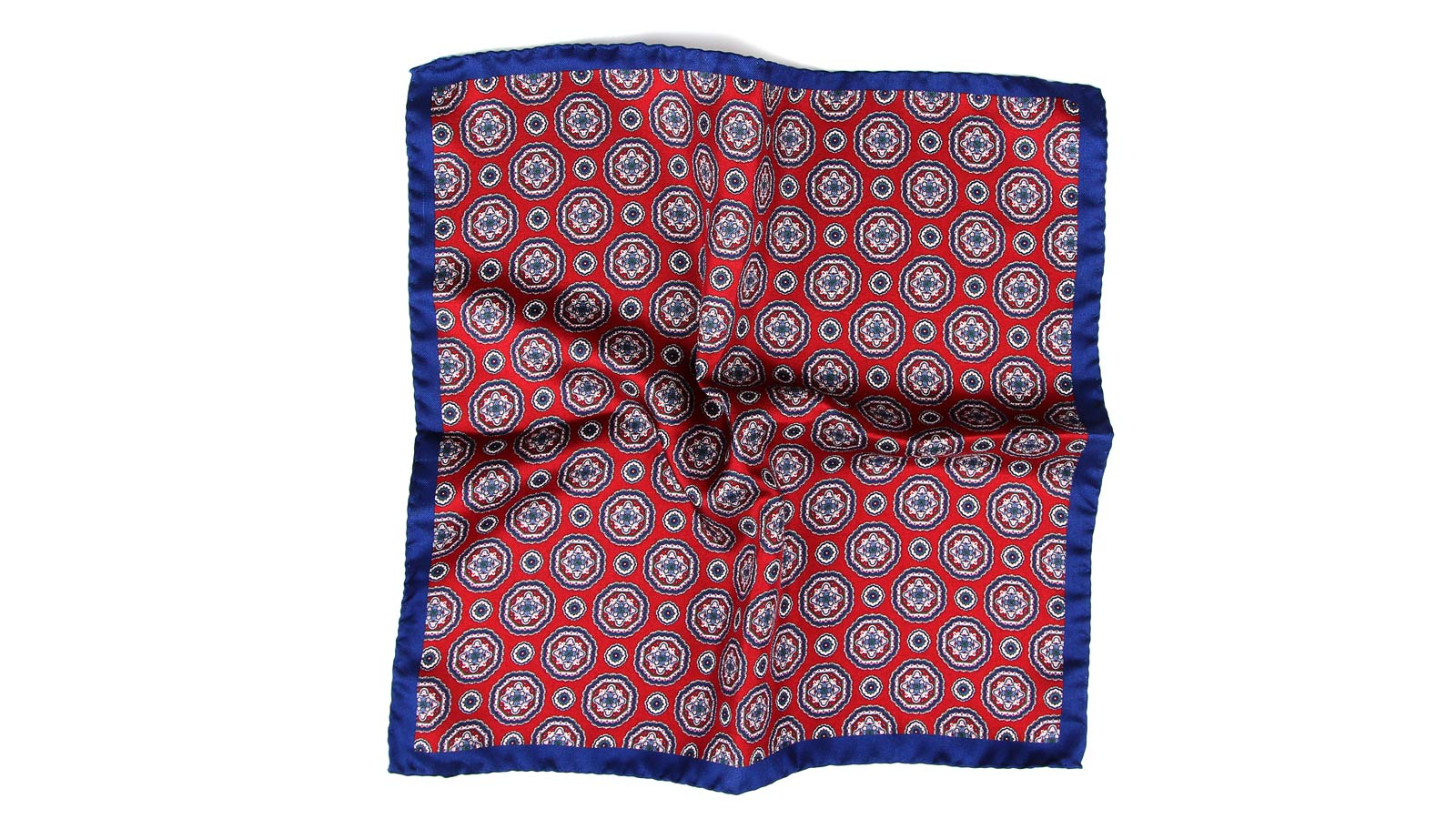 Navy & Red Shapes Italian 100% Silk Pocket Square - slider image