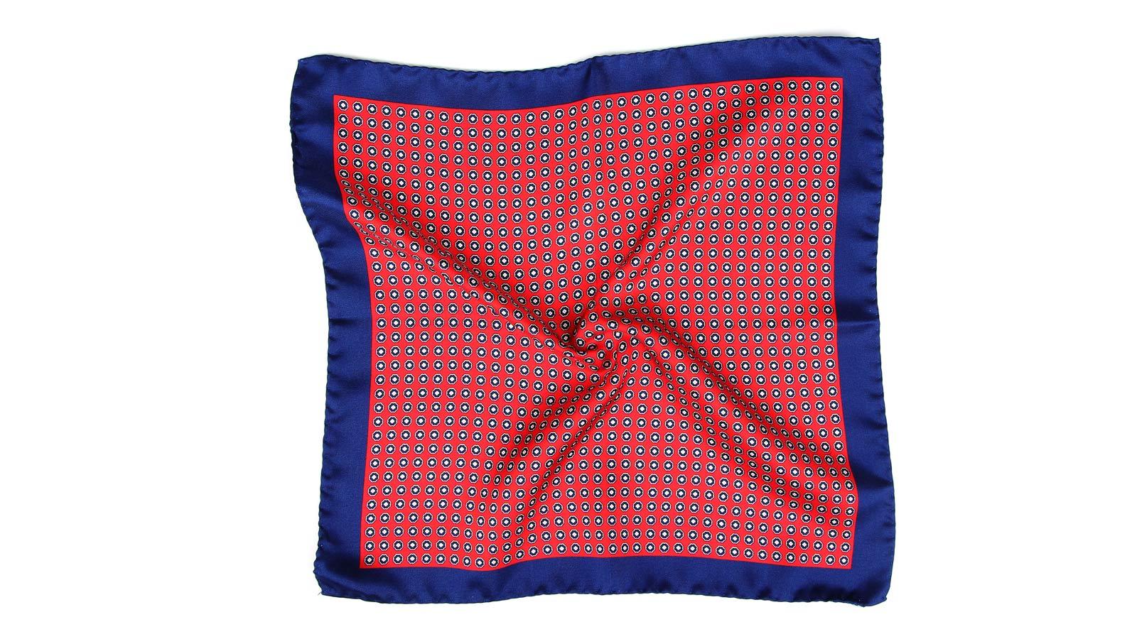 Red & Navy Silk Pocket Square - slider image