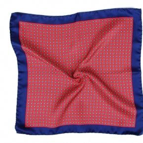 Red & Navy Silk Pocket Square - thumbnail image 1