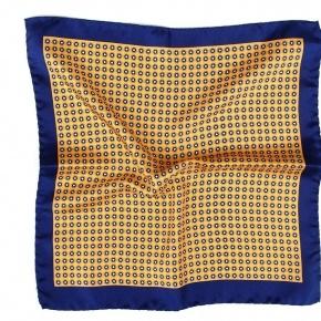 Navy & Yellow Silk Pocket Square - thumbnail image 1