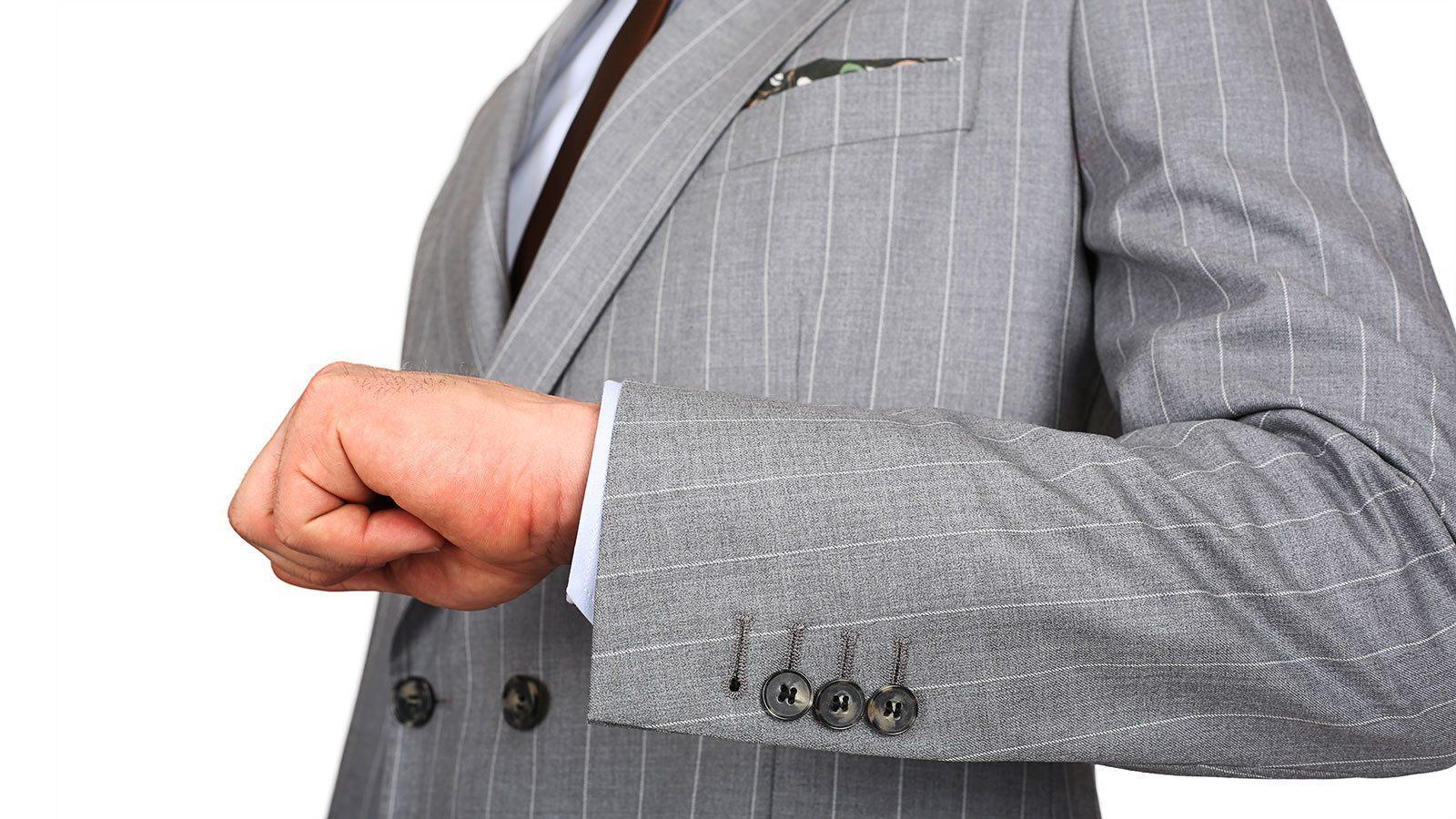 Premium Light Grey Chalkstripe 150s Suit - slider image 1