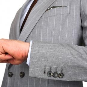 Premium Light Grey Chalkstripe 150s Suit - thumbnail image 1