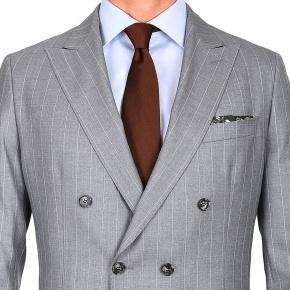 Premium Light Grey Chalkstripe 150s Suit - thumbnail image 2