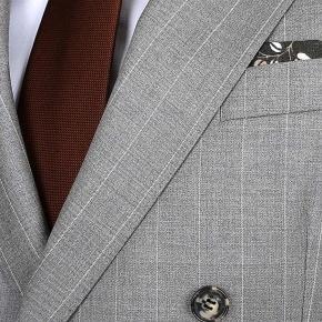 Premium Light Grey Chalkstripe 150s Suit - thumbnail image 3