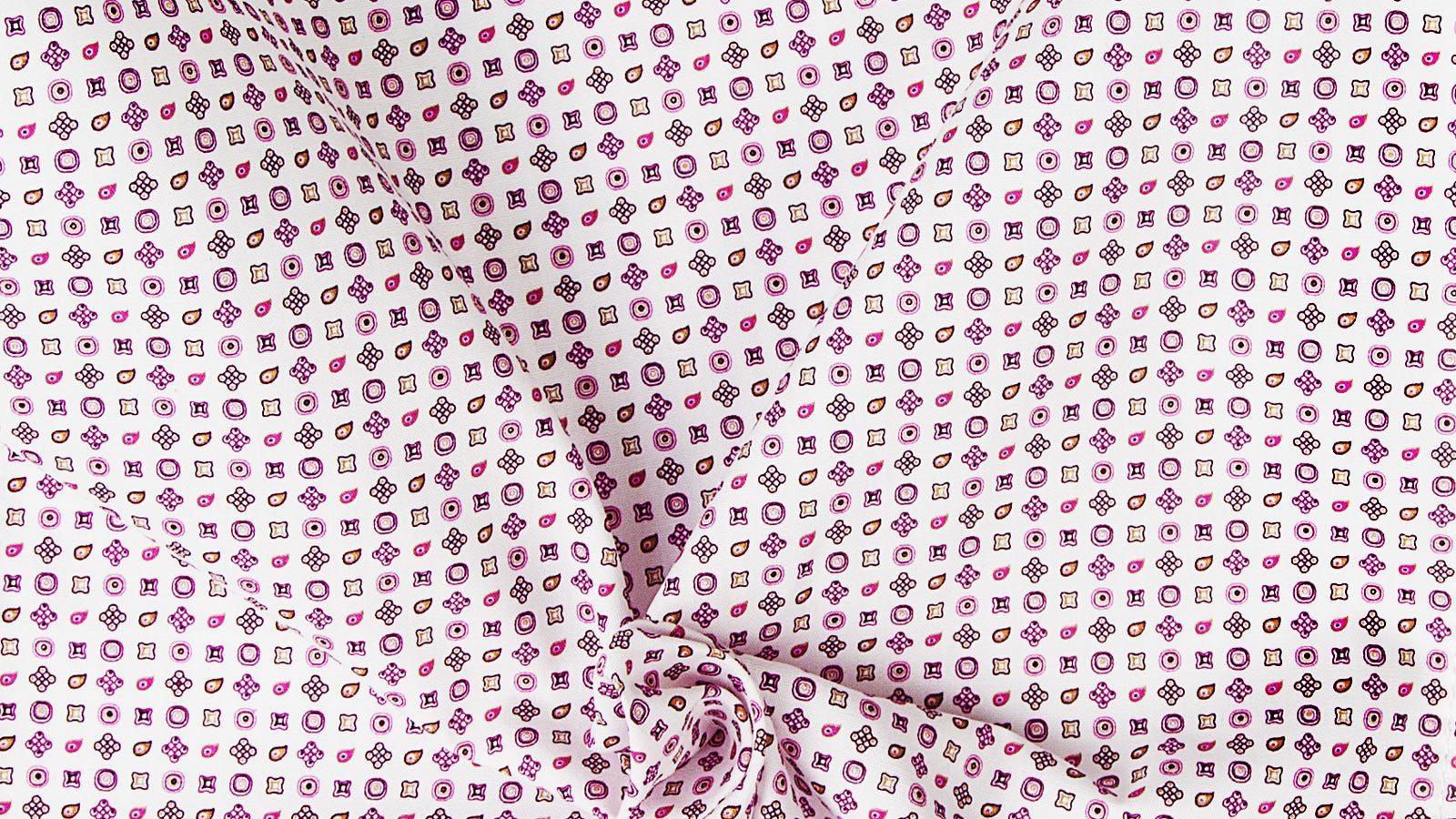White Patterned Cotton Pocket Square - slider image