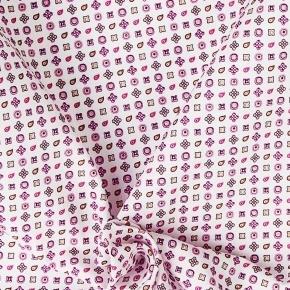 White Patterned Cotton Pocket Square - thumbnail image 1