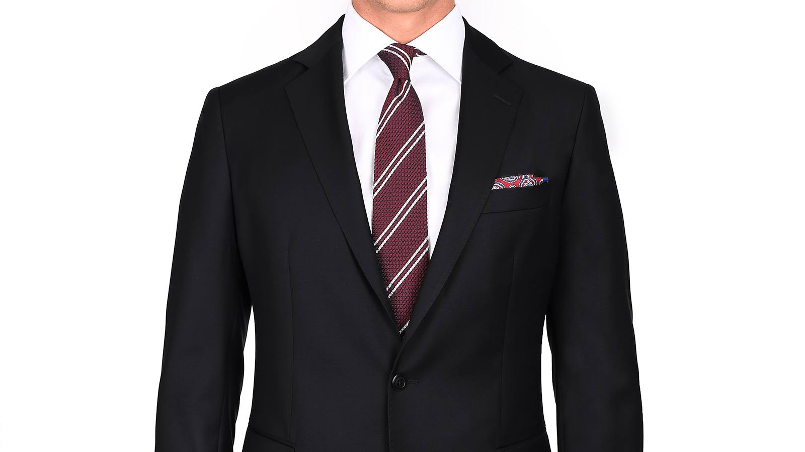 Suit in Solid Black Wool - slider image 1